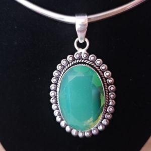 Sterling Silver Green Kunzite Pendant
